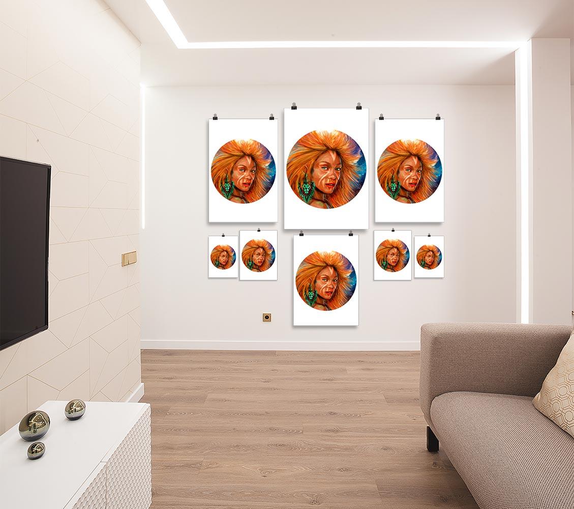Reproducción de arte en lámina - salón - El Poder de Leo - Diseño Digital - Zodiaco - Ilustración -pintado por Adrian Pagador