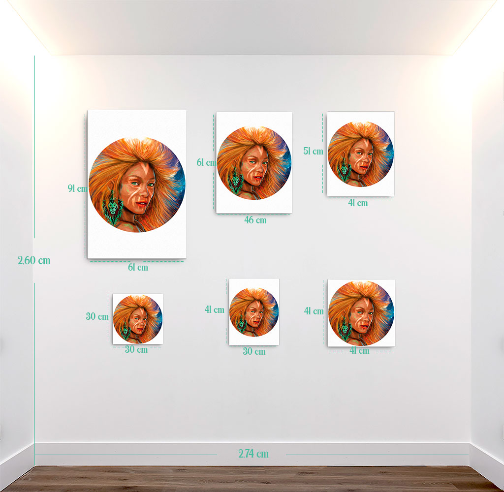 Reproducción de arte en lienzo - medidas - El Poder de Leo - Diseño Digital - Zodiaco - Ilustración -pintado por Adrian Pagador