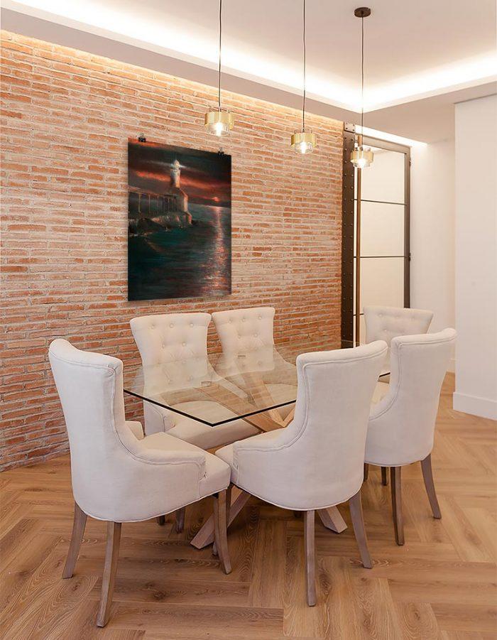 Reproducción de arte en lámina - comedor con pared de ladrillo - Matutino - Óleo - Paisaje costero - Impresionismo -pintado por Fernando Pagador
