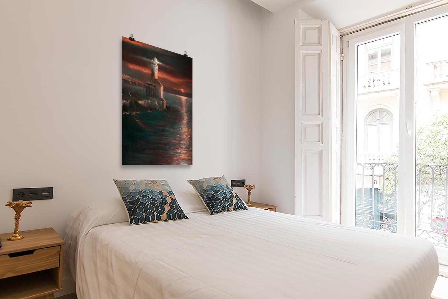 Reproducción de arte en lámina - dormitorio con balcón - Matutino - Óleo - Paisaje costero - Impresionismo -pintado por Fernando Pagador