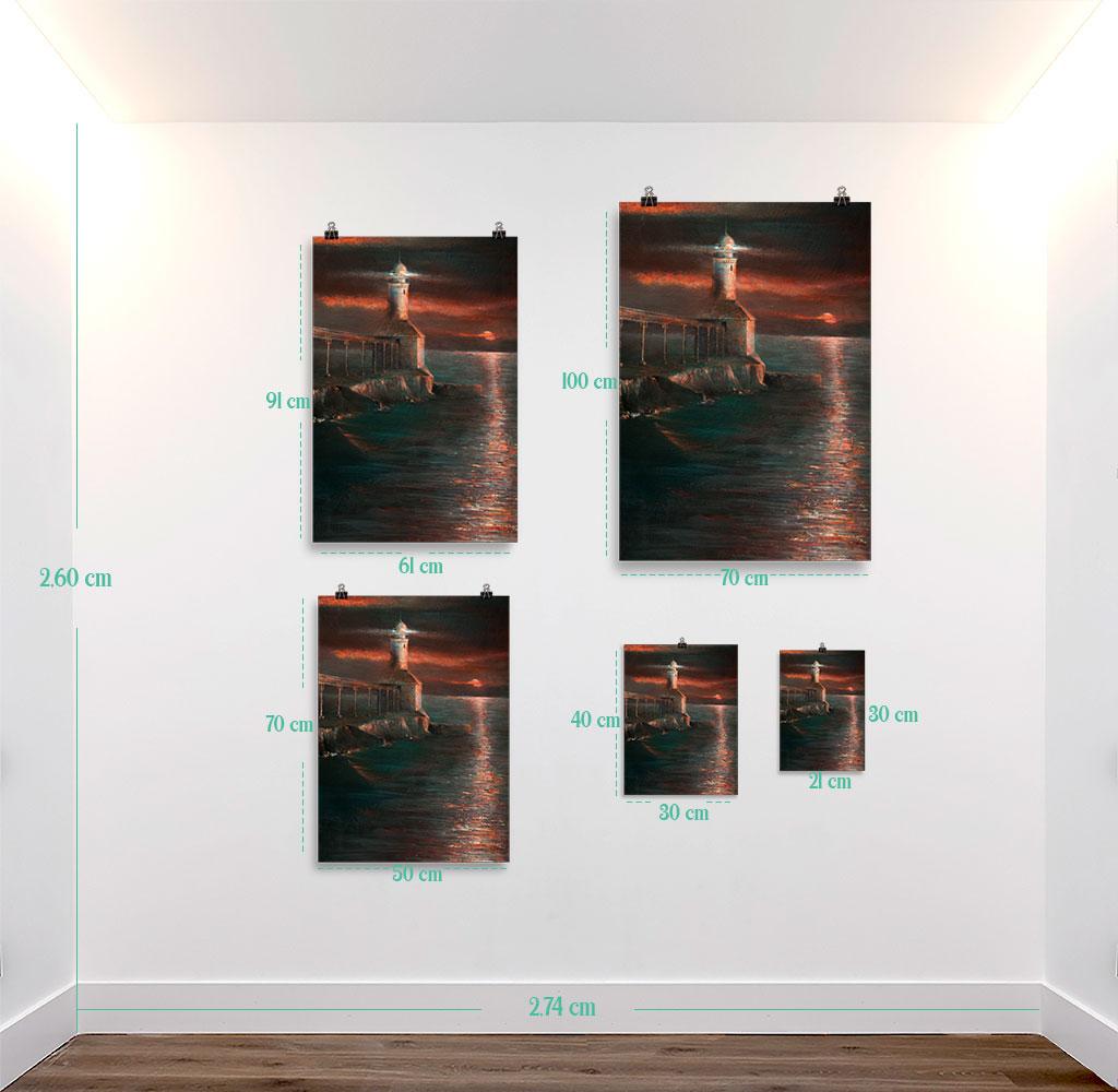 Reproducción de arte en lámina - medidas - Matutino - Óleo - Paisaje costero - Impresionismo -pintado por Fernando Pagador