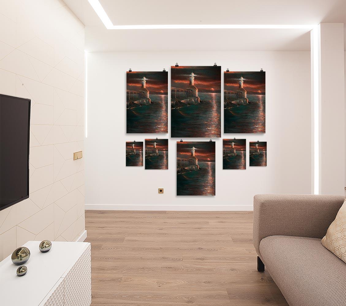 Reproducción de arte en lámina - salón - Matutino - Óleo - Paisaje costero - Impresionismo -pintado por Fernando Pagador