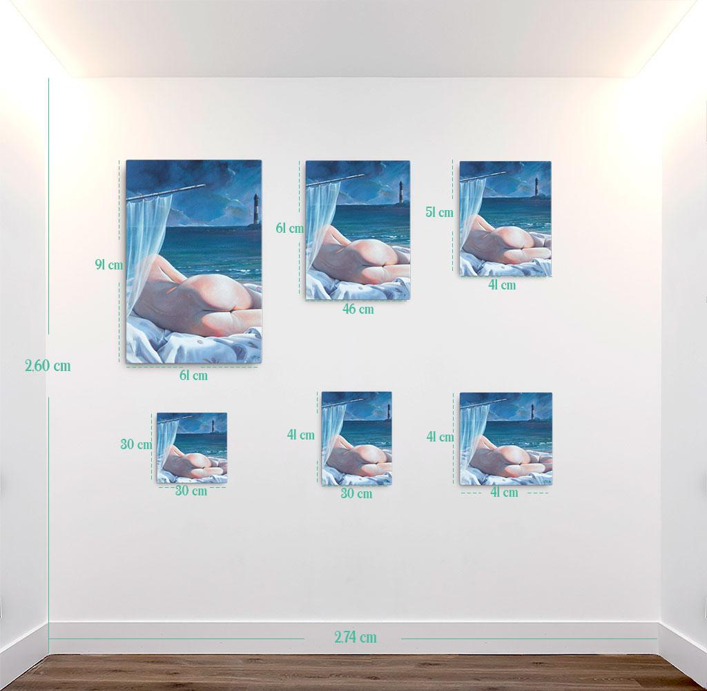 Reproducción de arte en lienzo - medidas - Momento de Descanso - Óleo - Paisaje con modelo - Realismo -pintado por Fernando Pagador