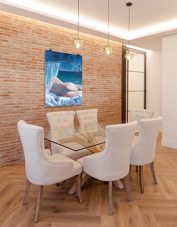 Reproducción de arte en lámina - comedor con pared de ladrillo - Momento de Descanso - Óleo - Paisaje con modelo - Realismo -pintado por Fernando Pagador