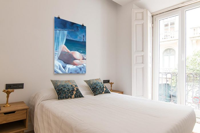 Reproducción de arte en lámina - dormtorio con balcón - Momento de Descanso - Óleo - Paisaje con modelo - Realismo -pintado por Fernando Pagador