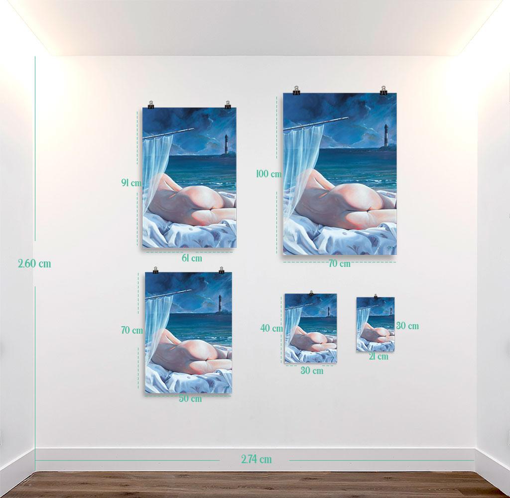 Reproducción de arte en lámina - medidas - Momento de Descanso - Óleo - Paisaje con modelo - Realismo -pintado por Fernando Pagador