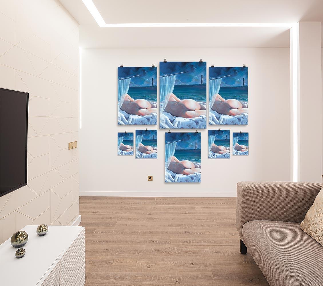 Reproducción de arte en lámina - salón - Momento de Descanso - Óleo - Paisaje con modelo - Realismo -pintado por Fernando Pagador