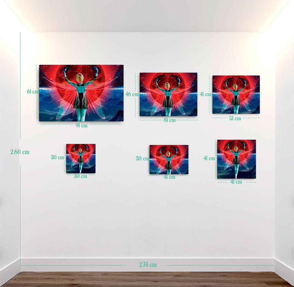 Reproducción de arte en lienzo - medidas - Retro RedMoon - Diseño Digital - Ilustración - Fotografía y Pintura -pintado por WachiMakeArt