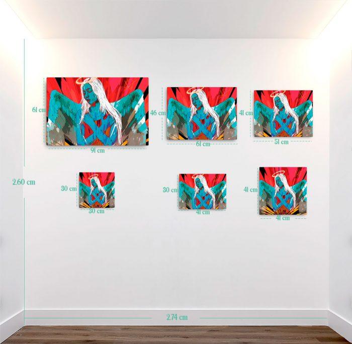 Reproducción de arte en lienzo - medidas - Angel Awakening - Diseño Digital - Ilustración - Fotografía y Pintura -pintado por WachiMakeArt