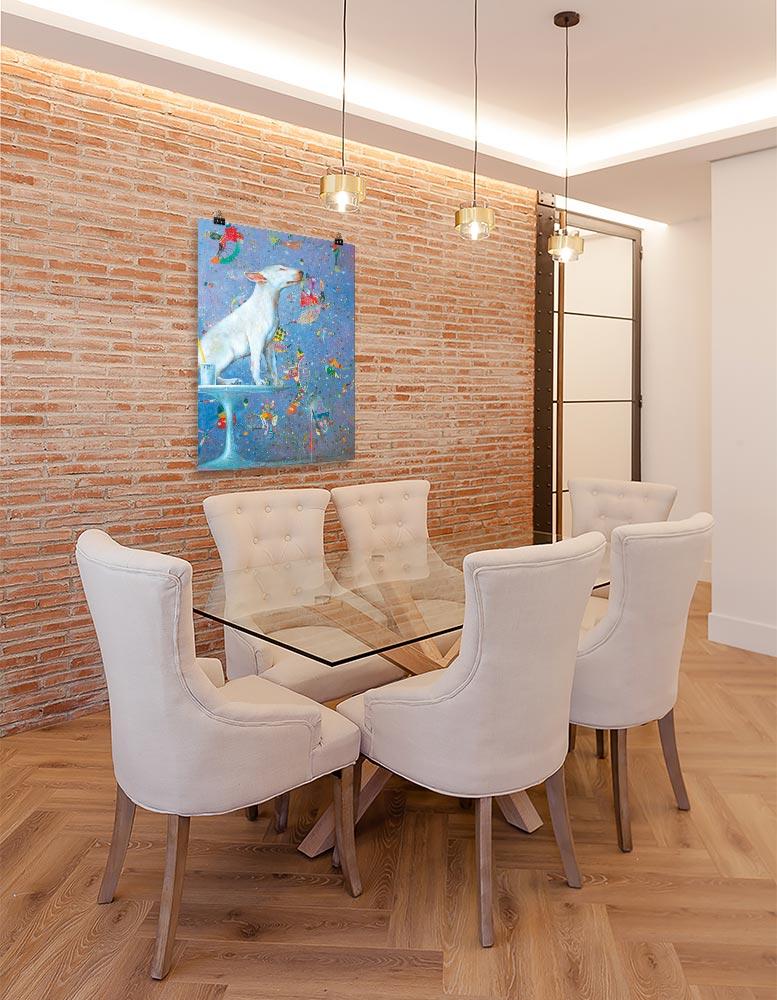 Reproducción de arte en lámina - comedor con pared de ladrillo - El Perro de Kandinsky - Óleo - Realismo Cósmico-pintado por Fernando Pagador
