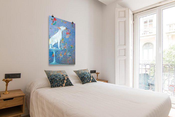 Reproducción de arte en lámina - dormitorio con balcón - El Perro de Kandinsky - Óleo - Realismo Cósmico-pintado por Fernando Pagador