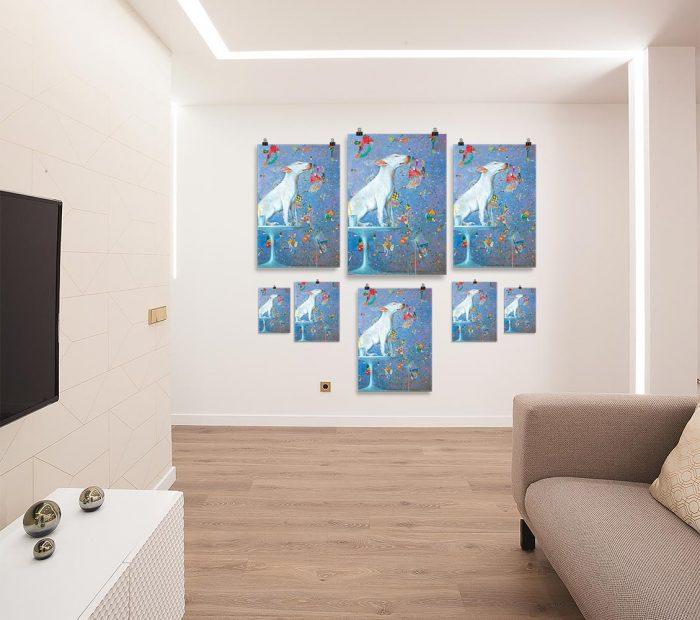 Reproducción de arte en lámina - salón - El Perro de Kandinsky - Óleo - Realismo Cósmico-pintado por Fernando Pagador