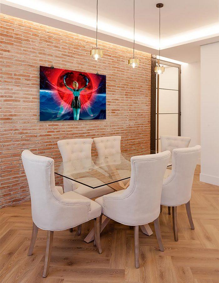 Reproducción de arte en lámina - comedor con pared de ladrillo - Retro RedMoon - Diseño Digital - Ilustración - Fotografía y Pintura -pintado por WachiMakeArt