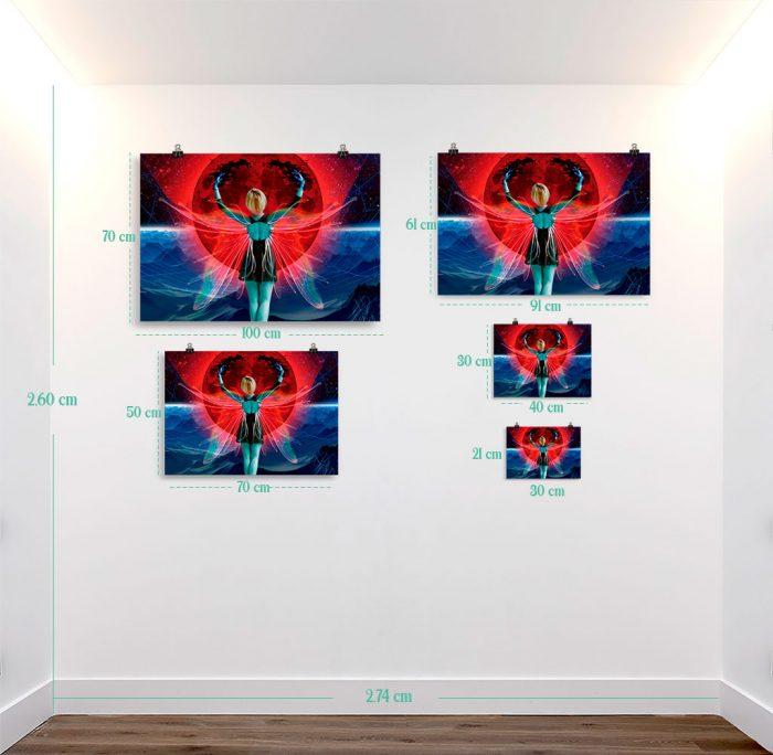 Reproducción de arte en lámina - medidas - Retro RedMoon - Diseño Digital - Ilustración - Fotografía y Pintura -pintado por WachiMakeArt