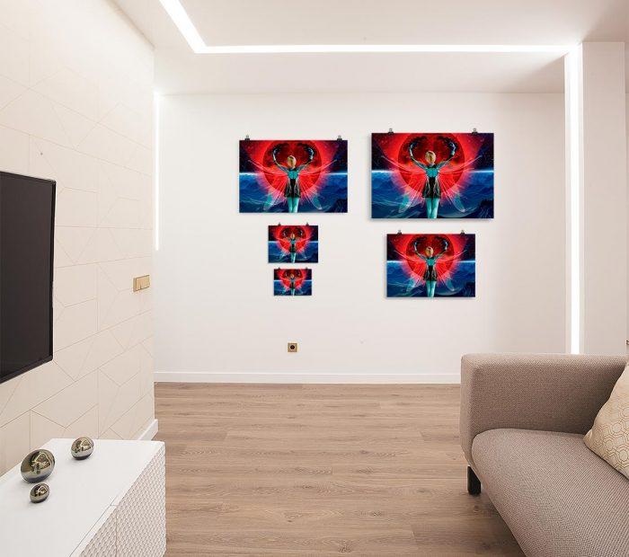 Reproducción de arte en lámina - salón - Retro RedMoon - Diseño Digital - Ilustración - Fotografía y Pintura -pintado por WachiMakeArt