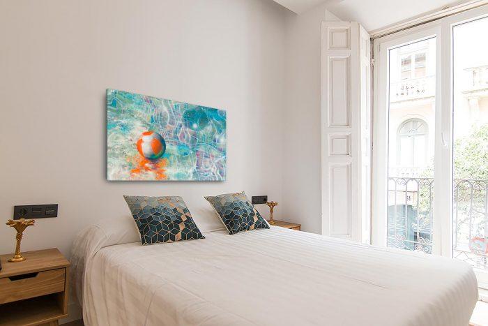 Reproducción de arte en lienzo - dormitorio con balcón - Reflejos - técnica mixta - Surrealismo -pintado por Fernando Pagador