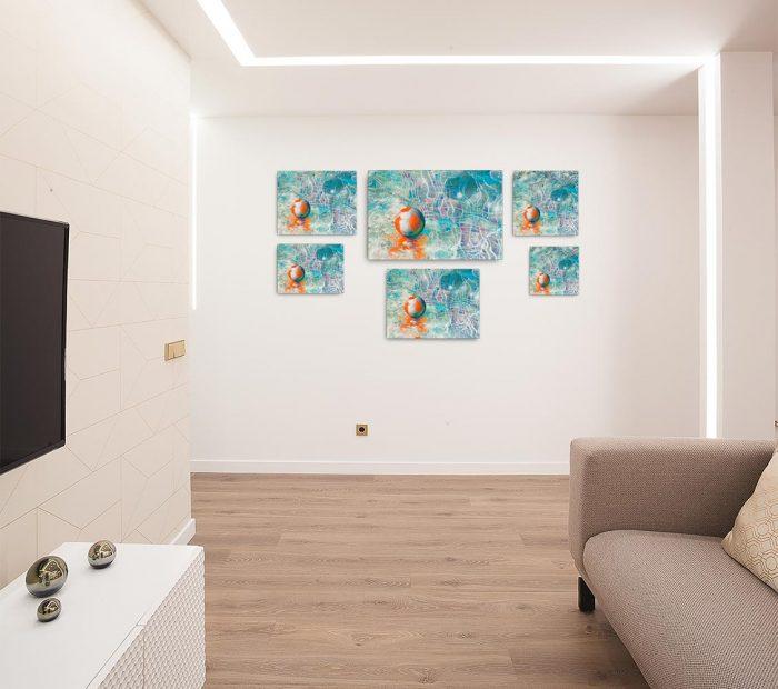 Reproducción de arte en lienzo - salón - Reflejos - técnica mixta - Surrealismo -pintado por Fernando Pagador