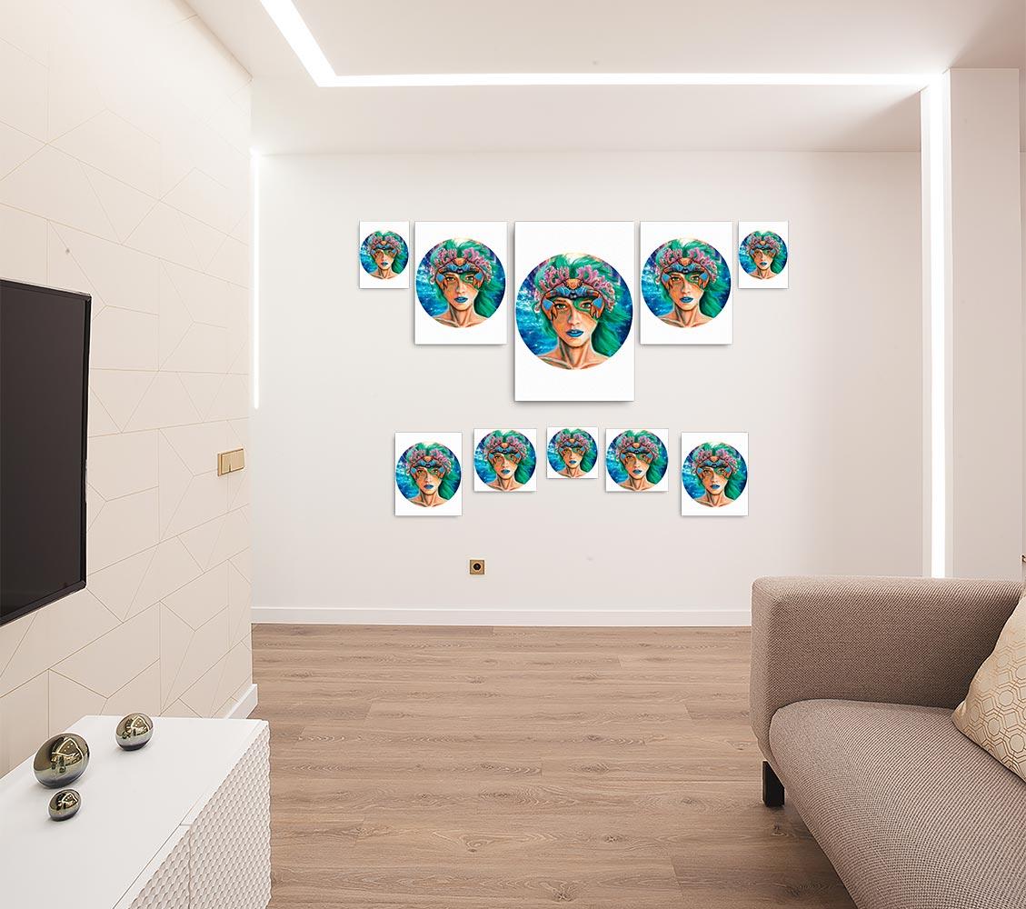 Reproducción de arte en lienzo - salón - La Fortaleza de Cancer - Diseño Digital - Zodiaco - Ilustración -pintado por Adrian Pagador