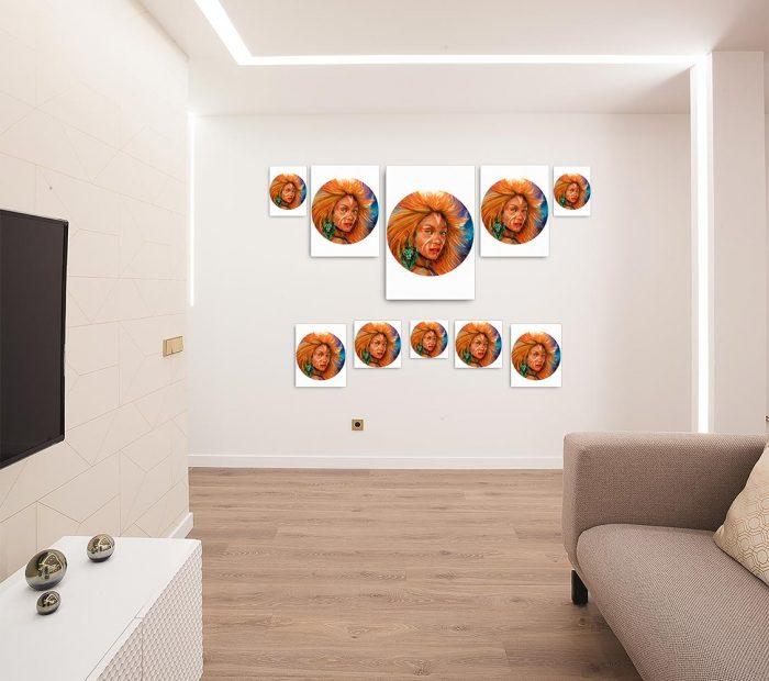 Reproducción de arte en lienzo - salón - El Poder de Leo - Diseño Digital - Zodiaco - Ilustración -pintado por Adrian Pagador