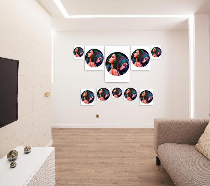 Reproducción de arte en lienzo - salón - Géminis - Diseño Digital - Zodiaco - Ilustración -pintado por Adrian Pagador