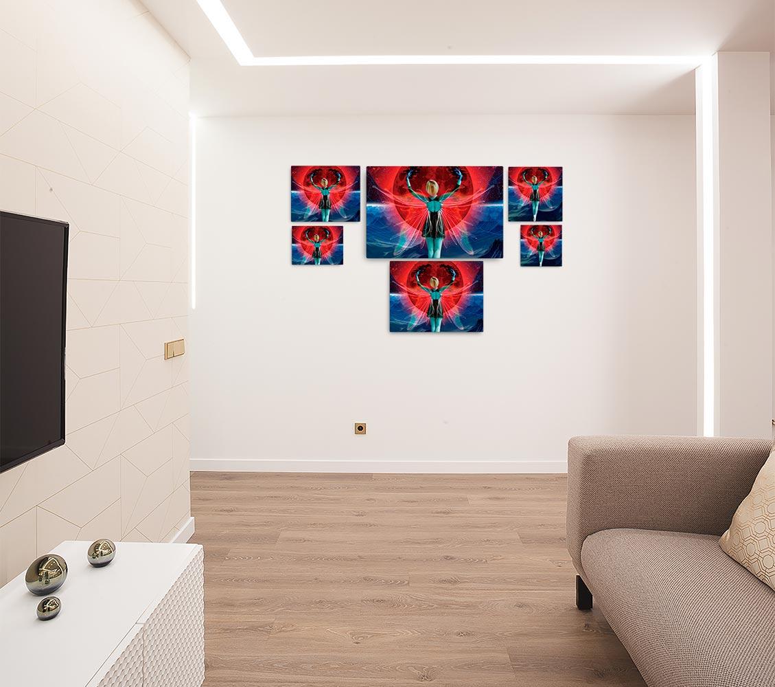 Reproducción de arte en lienzo - salón - Retro RedMoon - Diseño Digital - Ilustración - Fotografía y Pintura -pintado por WachiMakeArt