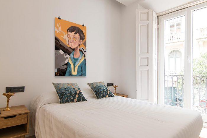 Reproducción de arte en lámina - dormitorio con balcón - Siria - Diseño Digital - Protesta - Ilustración -pintado por Aida Valdayo