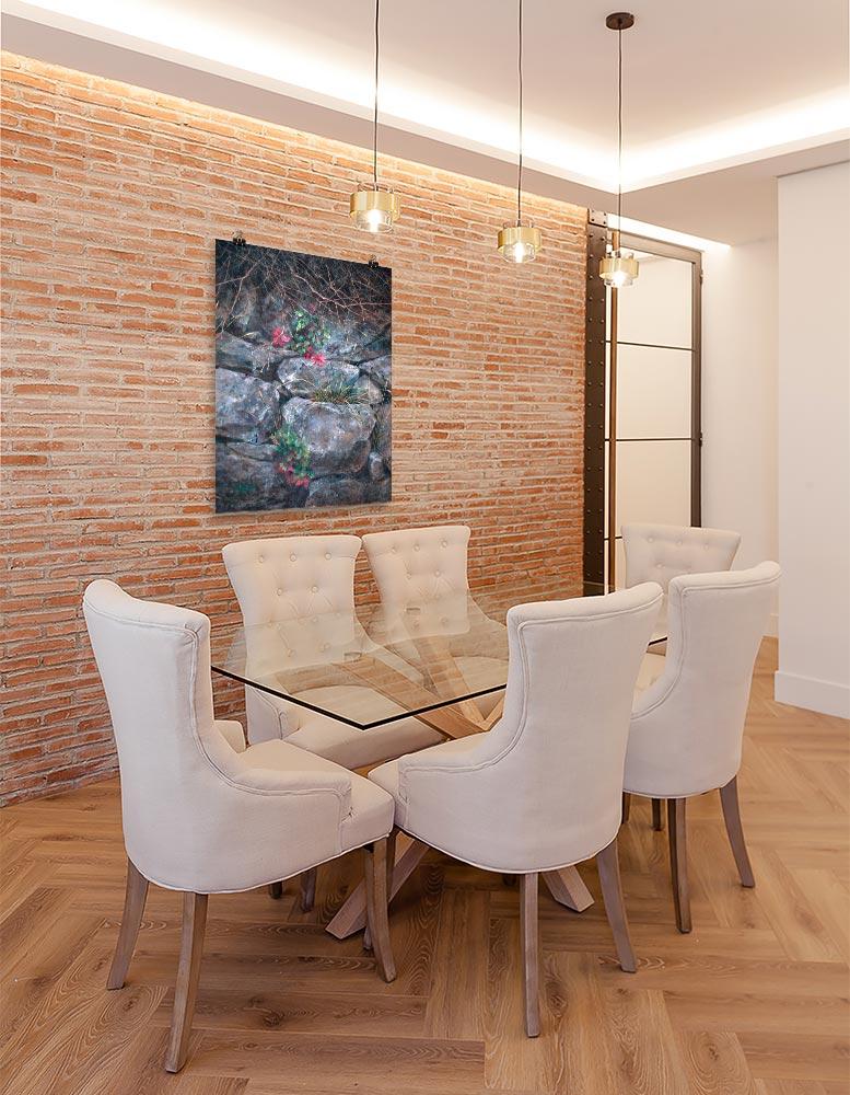 Reproducción de arte en lámina - comedor con pared de ladrillo - Supervivientes - Óleo - Naturalismo-pintado por Fernando Pagador