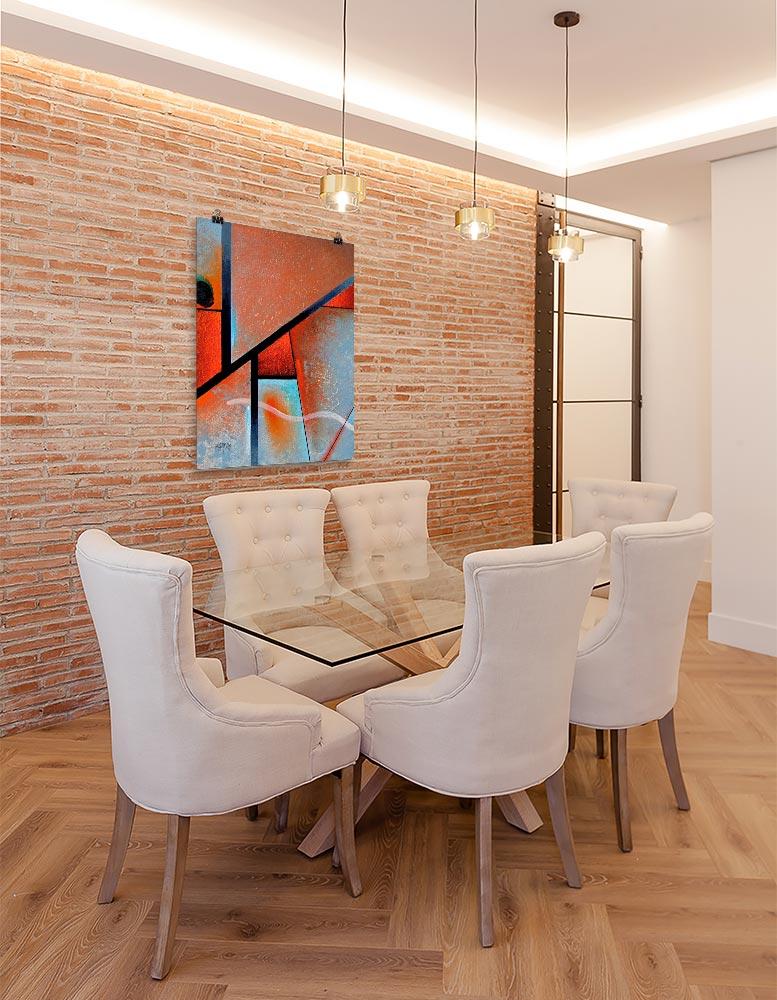 Reproducción de arte en lámina - comedor con pared de ladrillo - Tribal I - Óleo - Geometrías-pintado por Fernando Pagador