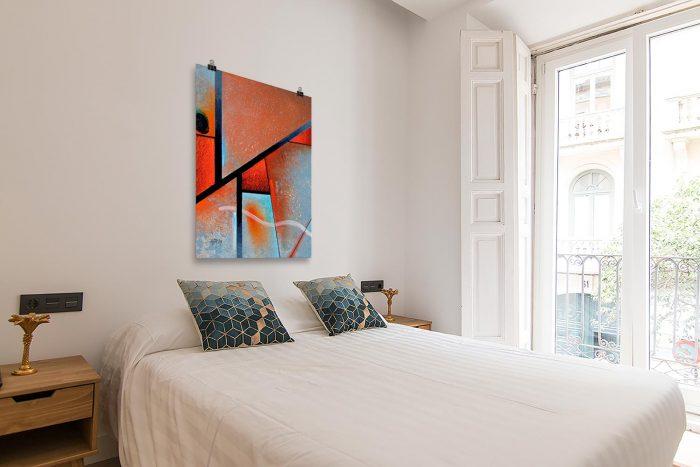 Reproducción de arte en lámina - dormitorio con balcón - Tribal I - Óleo - Geometrías-pintado por Fernando Pagador