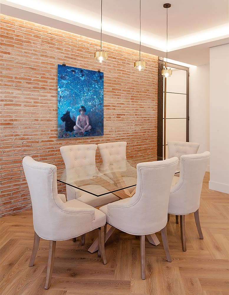 Reproducción de arte en lámina - comedor con pared de ladrillo - UNIVERSO INFANTIL - Óleo - Realismo -pintado por Fernando Pagador