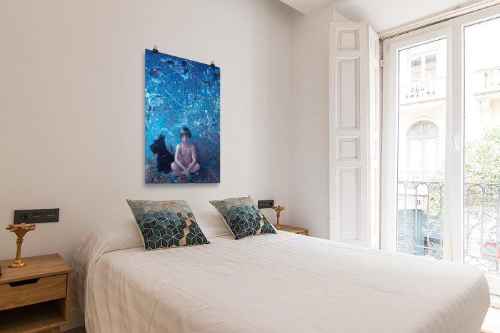 Reproducción de arte en lámina - dormitorio con balcón - UNIVERSO INFANTIL - Óleo - Realismo -pintado por Fernando Pagador