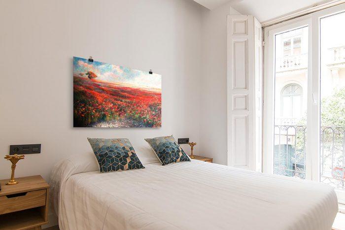 Reproducción de arte en lámina - dormitorio con balcón - Termino de Valverde 1 - Óleo - Paisaje - Naturalismo -pintado por Fernando Pagador