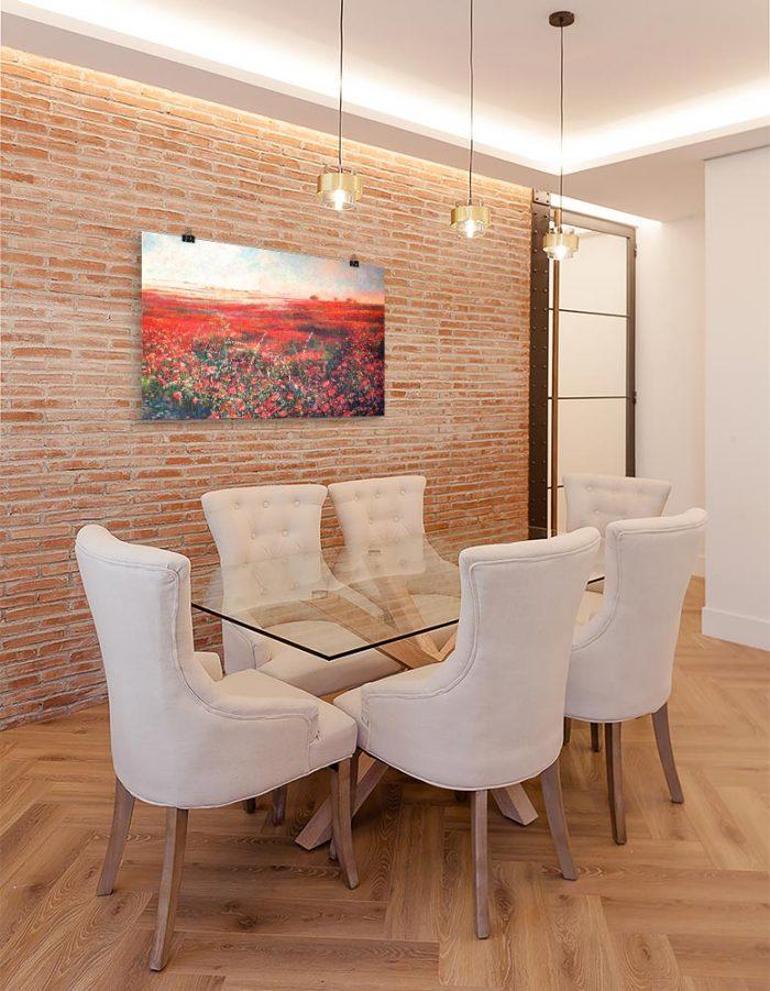 Reproducción de arte en lámina - comedor con pared de ladrillo - Termino de Valverde 3 - Óleo - Paisaje - Naturalismo -pintado por Fernando Pagador