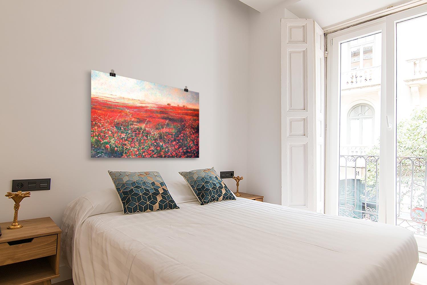 Reproducción de arte en lámina - dormitorio con balcón - Termino de Valverde 3 - Óleo - Paisaje - Naturalismo -pintado por Fernando Pagador