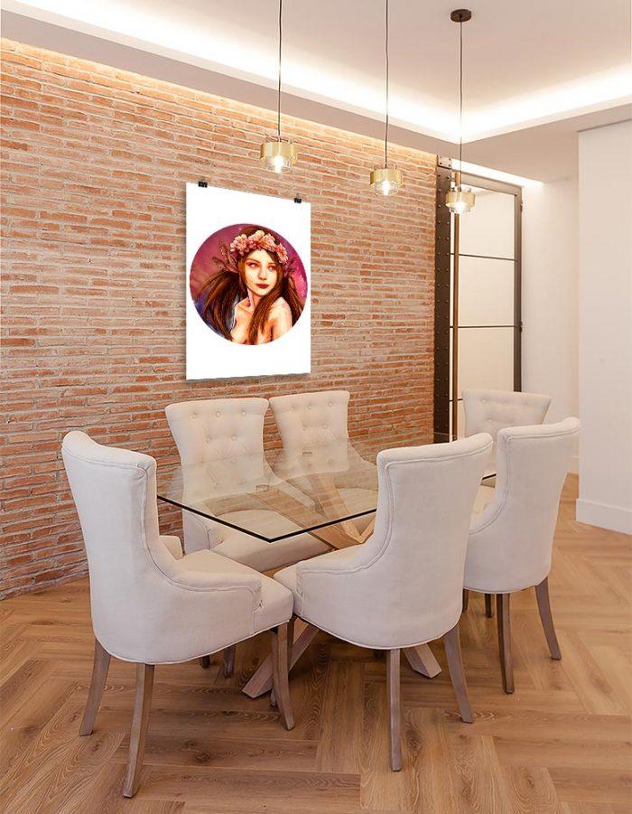 Reproducción de arte en lámina - comedor con pared de ladrillo - La Pureza de Virgo - Diseño Digital - Zodiaco - Ilustración -pintado por Adrian Pagador