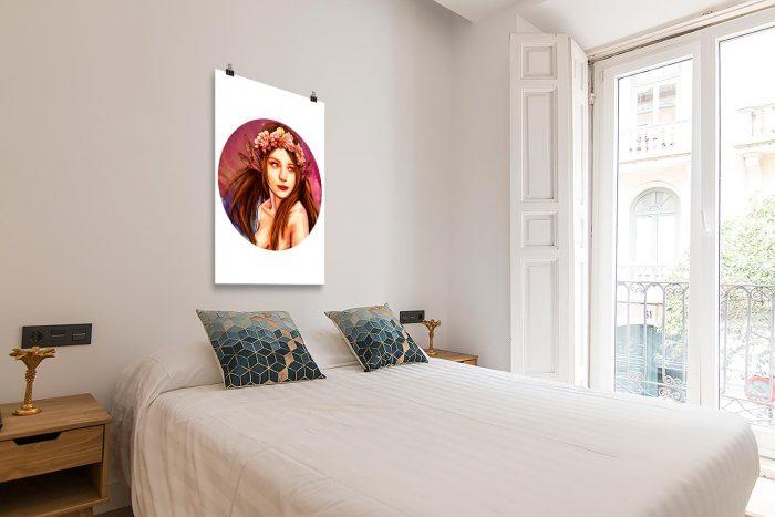 Reproducción de arte en lámina - dormitorio con balcón - La Pureza de Virgo - Diseño Digital - Zodiaco - Ilustración -pintado por Adrian Pagador