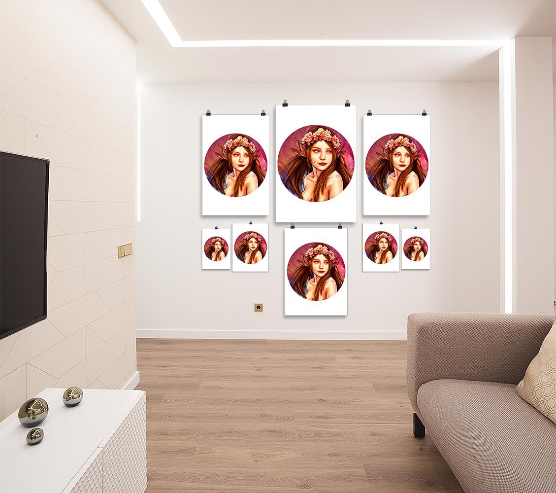 Reproducción de arte en lámina - salón - La Pureza de Virgo - Diseño Digital - Zodiaco - Ilustración -pintado por Adrian Pagador