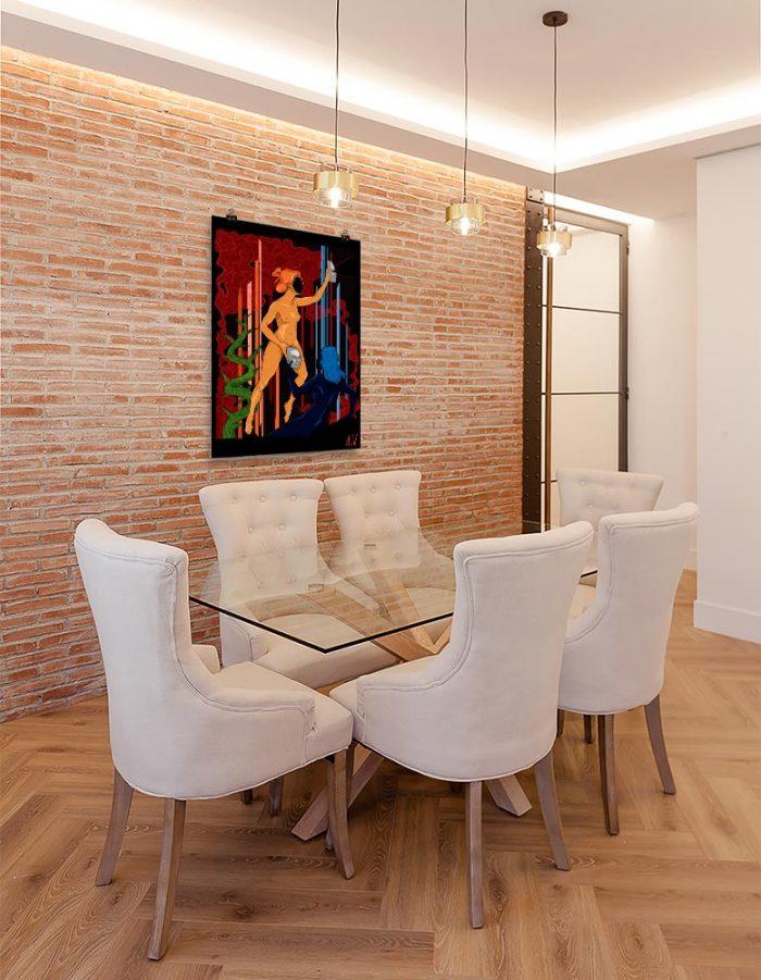 Reproducción de arte en lámina - comedor con pared de ladrillo - La Visión de Géminis - Diseño Digital - Zodiaco - Ilustración -pintado por Aida Valdayo