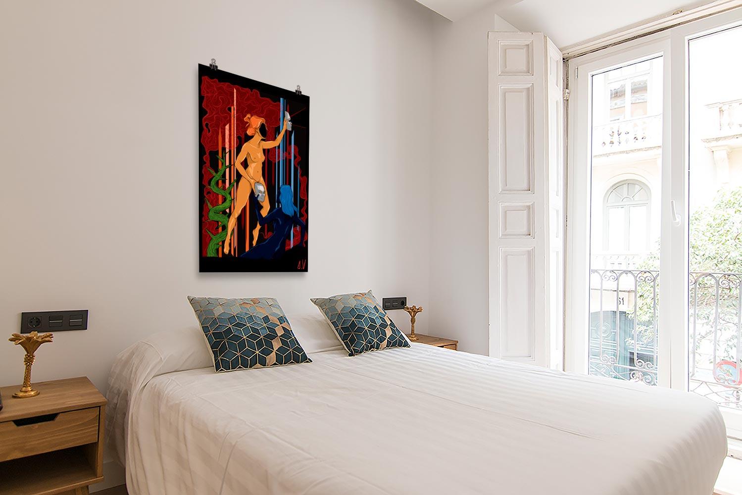Reproducción de arte en lámina - dormitorio con balcón - La Visión de Géminis - Diseño Digital - Zodiaco - Ilustración -pintado por Aida Valdayo