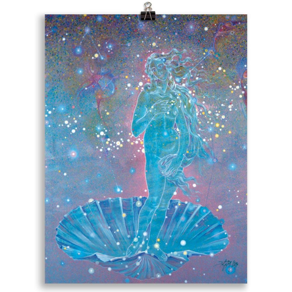 Reproducción de arte en lámina 30x40 cm - Venus Astral - Técnica mixta - Apropiación de Sandro Botticelli -pintado por Fernando Pagador