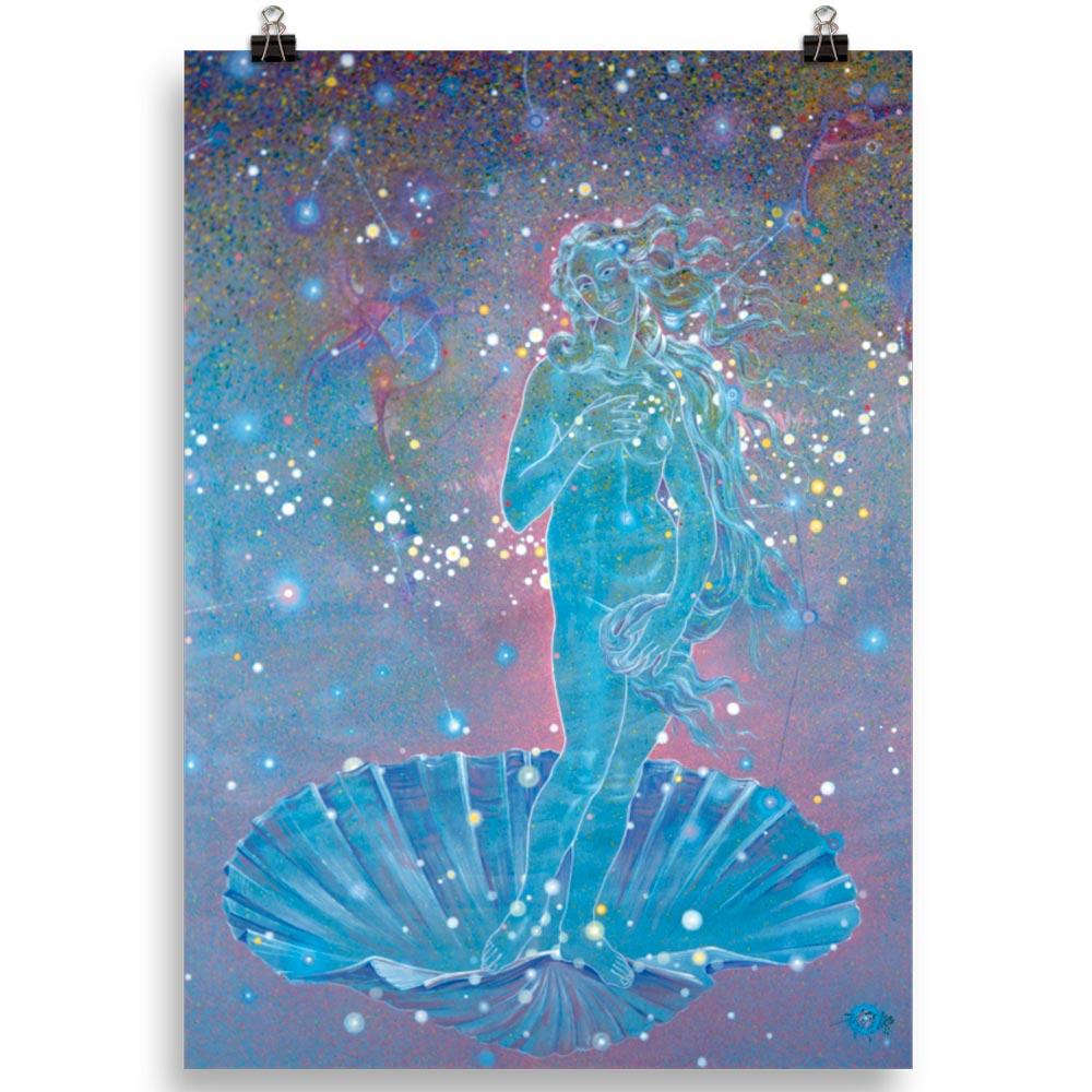 Reproducción de arte en lámina 70x50 cm - Venus Astral - Técnica mixta - Apropiación de Sandro Botticelli -pintado por Fernando Pagador