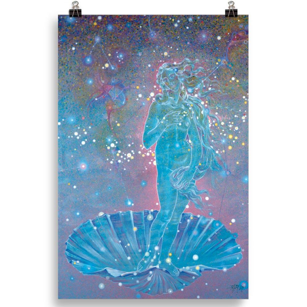 Reproducción de arte en lámina 61x91 cm - Venus Astral - Técnica mixta - Apropiación de Sandro Botticelli -pintado por Fernando Pagador