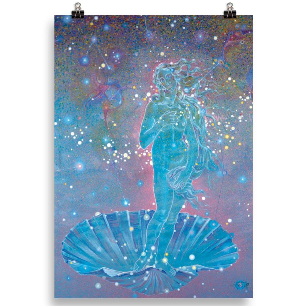 Reproducción de arte en lámina 70x100 cm - Venus Astral - Técnica mixta - Apropiación de Sandro Botticelli -pintado por Fernando Pagador