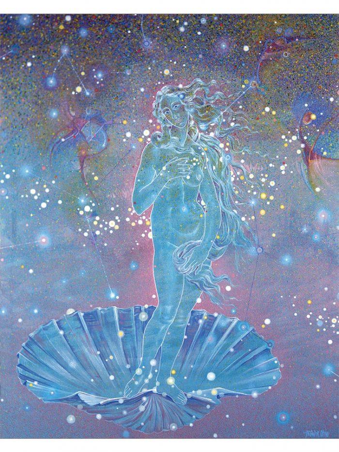 Reproducción de arte - imagen destacada - Venus Astral - Técnica mixta - Apropiación de Sandro Botticelli -pintado por Fernando Pagador