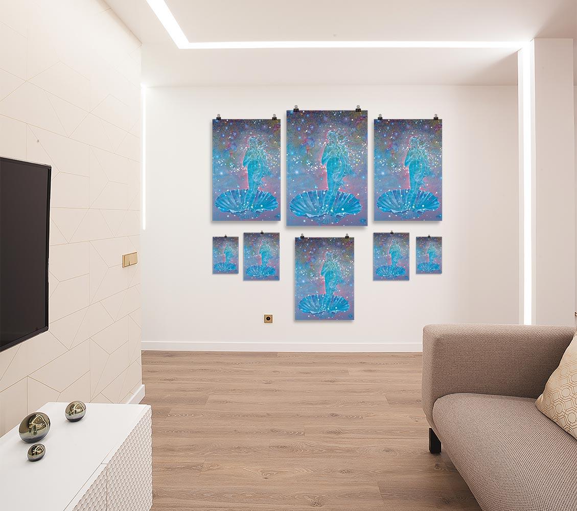 Reproducción de arte en lámina - salón - Venus Astral - Técnica mixta - Apropiación de Sandro Botticelli -pintado por Fernando Pagador