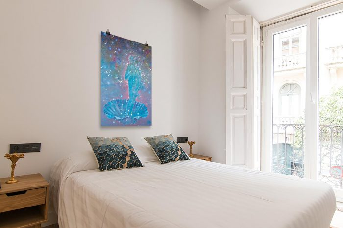 Reproducción de arte en lámina - dormitorio con balcón - Venus Astral - Técnica mixta - Apropiación de Sandro Botticelli -pintado por Fernando Pagador