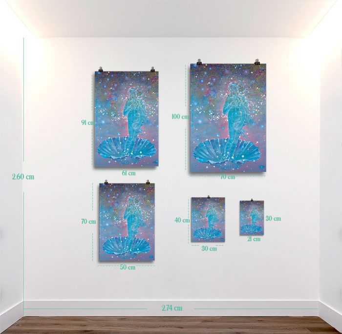 Reproducción de arte en lámina - medidas - Venus Astral - Técnica mixta - Apropiación de Sandro Botticelli -pintado por Fernando Pagador