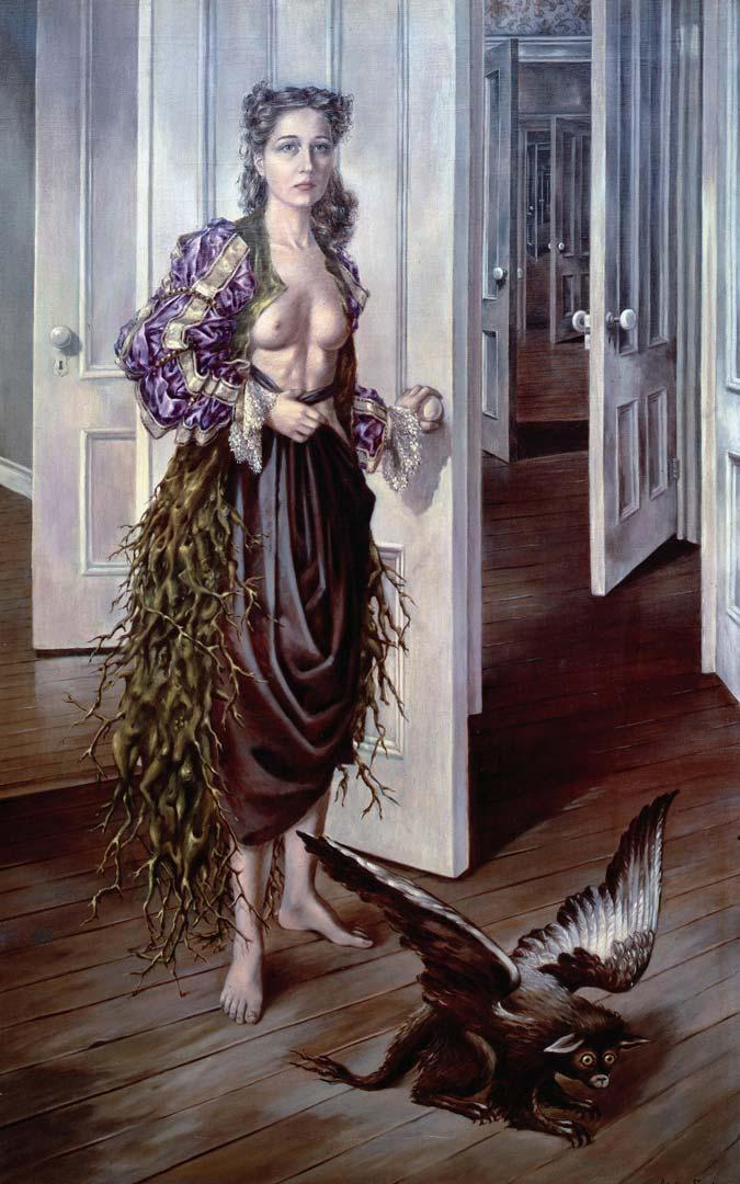 Birthday - Cumpleaños - Cuadro Surrealista pintado por Dorothea Tanning en 1942 - Óleo sobre Lienzo 101 x 63 cm
