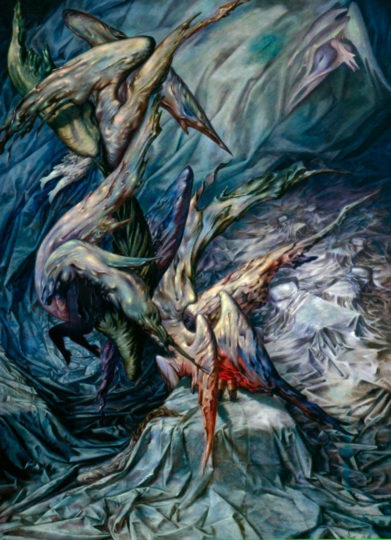 Guardian Angels - Angeles Guardianes - Cuadro Surrealista pintado por Dorothea Tanning en 1946 - Óleo sobre Lienzo 122 x 90 cm