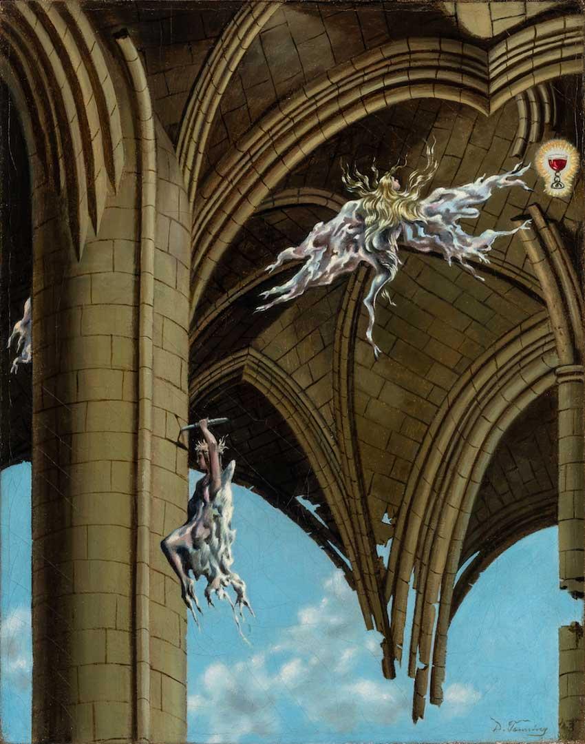 Angelic Pleasures - Placeres Angelicales - Cuadro Surrealista pintado por Dorothea Tanning en 1943 - Óleo sobre Lienzo 36 x 28 cm